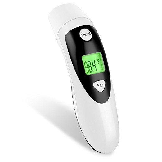 Red Medical Forehead and Ear Thermometer